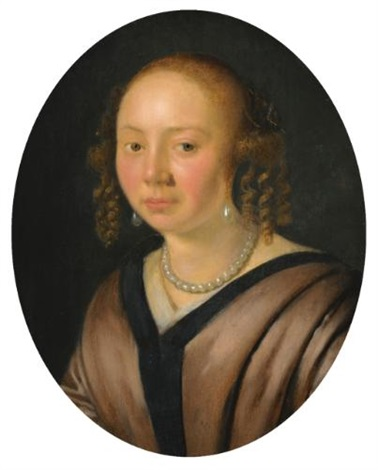 portrait of a lady head and shoulders wearing pearl earrings and a necklace by pieter cornelisz van slingeland