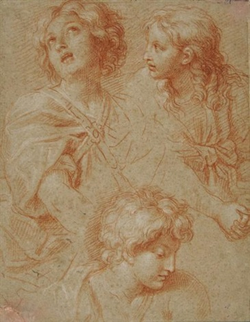 trois têtes study by michel corneille the younger