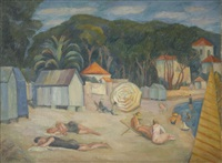 baigneurs à la plage by anny lierow