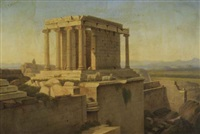 temple ruins on the acropolis (+ the erechthion of the acropolis, athens; pair) by alexandre raulin