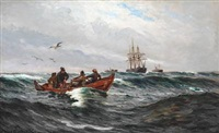 fishermen in their rowing boat at sea by carl ludvig thilson locher