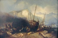 calfatage et pêcheurs en mer (pair) by charles hoguet