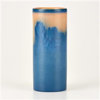 vellum cylindrical vase with conifers by sallie (sara elizabeth) coyne
