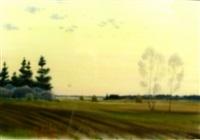 landschaft mit feldern u. heuhaufen bei sonnenuntergang by alexey shmarinov