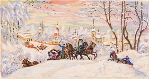 troika in the snow by boris mikhailovich kustodiev
