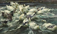 enten in teich (wilde jagd) by alexander max koester