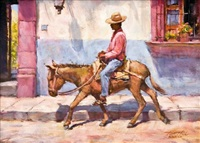 man riding burro by tom hill