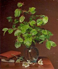 still life with beech branches in a vase and books by emma mulvad