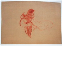 sketch, female, back view and others (5 works) by everett shinn