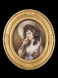 sarah siddons wearing light brown dress with darker trimming at the cuff, dark brown sash, white fichu by horace hone