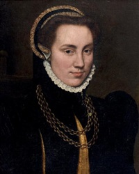 portrait d'une jeune femme de qualité portant une chaîne en or by françois clouet
