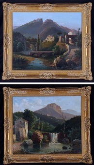 italian landscapes (pair) by raimondo scoppa