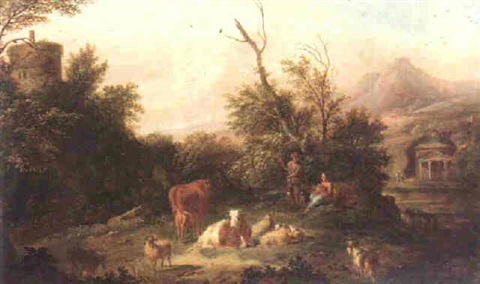 an italianate landscape with a cowherd watching over his livestock shepherdess beside him cradling a child by jan van der vaardt