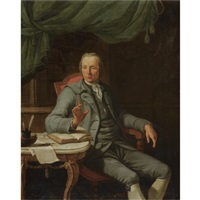 portrait of a gentleman in his study, wearing a grey suit by jacques-albert senave