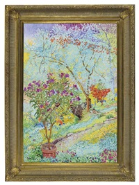 a colorful and lush garden by lillian mackendrick