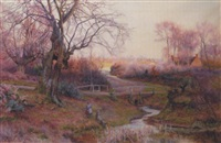 fishing by a country lane by walter follen bishop