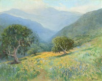 wayside oak and poppies by frank montague moore