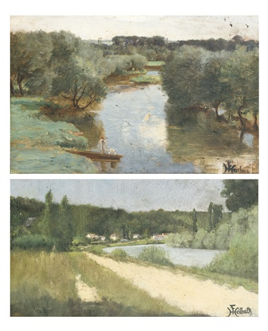bords de rivière 2 works by ferdinand heilbuth