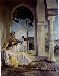 femmes sur une terrasse à alger by john pierre simonet