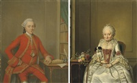 portrait of gentleman said to be hendrik de roo(+ portrait of a lady said to be hester constantia de witt; 2 works) by jan maurits quinkhardt