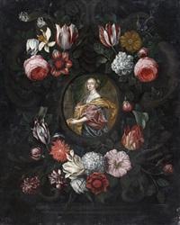 portrait de femme dans un cartouche sculpté orné de fleurs by jan van kessel