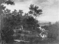 scena di caccia in un paesaggio laziale con un cavaliere e vari astanti by angeluccio