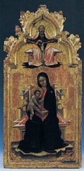 madonna col bambino in trono e nella cuspida la trinità by lello da velletri