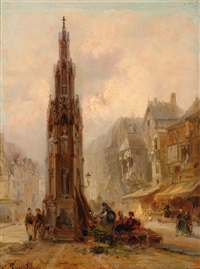 city square with gothic monument by jan baptiste tetar van elven