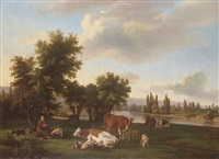 pastoral landscape with a couple resting beside a river by charles simon