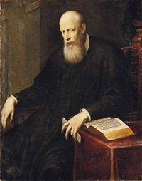 portrait of a bearded man, three-quarter-length, seated in an interior, a letter in his left hand by jacopo robusti tintoretto