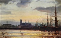 evening in the harbour by ioannis (jean h.) altamura