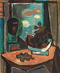 interior with couple and fruit basket by aharon kahana