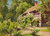 sommargrönska vid rött hus by johan fredrik krouthen