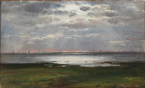 coastal scape at sunset by carl frederik peder aagaard