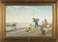 marina con barca e pescatori by pietro gabrini