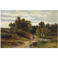 figures in a wooded landscape near oosterbeek by johannes warnardus bilders