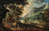 landscape with figures near a river. in the background houses and mountains by david vinckboons