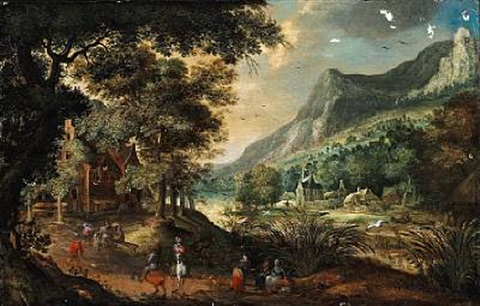 landscape with figures near a river in the background houses and mountains by david vinckboons