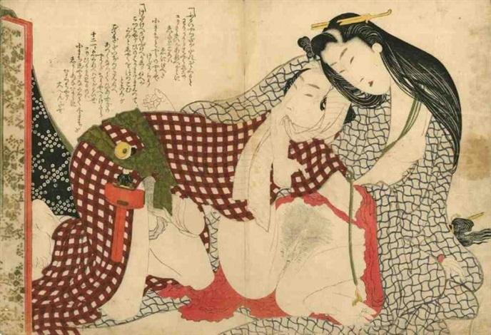 oban yoko e tsui no hinagata modèles de couples amants sur le point de sunir lhomme avec un foulard dans la bouche la femme aux cheveux très longs le kimono ouvert by katsushika hokusai