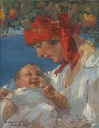 mère et enfant sous l'oranger by cipriano mannucci