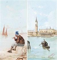 an old man smoking by the lagoon by alberto sandri