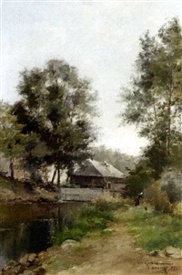 a summer landscape with a peasant by a stream by armand-arsène mannoury