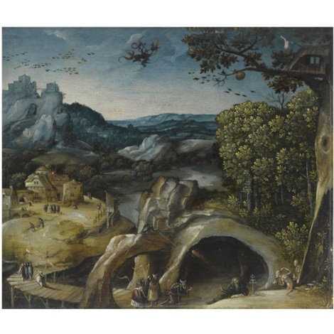 an extensive landscape with the temptation of st anthony by lucas gassel
