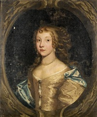portrait of a lady, in a silk gown by john greenhill