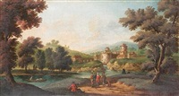 a wooded river landscape with figures resting beside a path (+ a wooded river landscape with figures on a path and a walled village beyond; pair) by peter tillemans