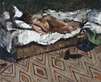 nude reclining on a bed by william brooker