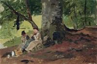 drei damen bei der nadelarbeit im laubwald by paul wilhelm tübbecke