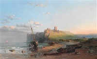 ruins of dunstanborough castle. a calm evening by samuel phillips jackson