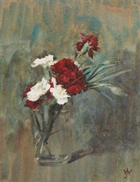 red and white carnations in a glass vase by josephine webb