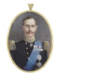 haakon vii (1872-1957), king of norway (1905-1957), wearing navy uniform with gold epaulettes and buttons, white standing collar embroidered with gold and blue sash by gertrude massey